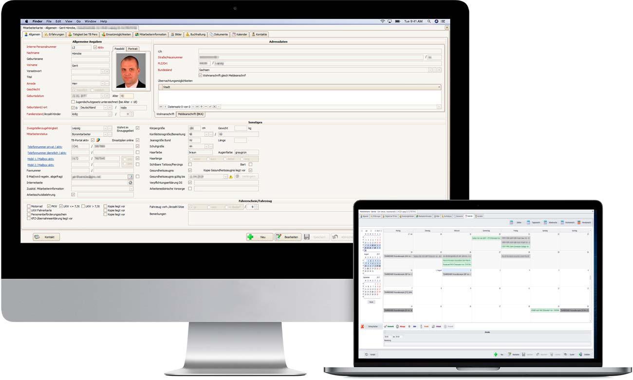 TBPersonal Software Mitarbeiterkartei - Datenfelder, Digitale Dokumentenverwaltung, integrierte Kalenderansicht, Mitarbeiterhistorie
